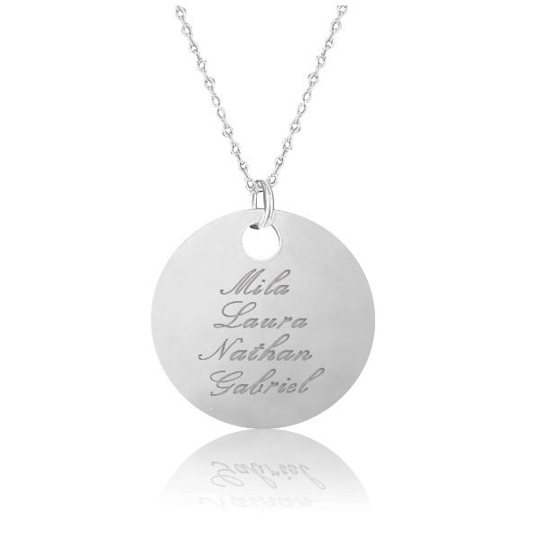 Collier grande médaille personnalisée gravée lettre anglaise