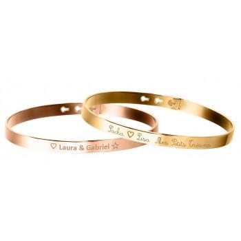 Duo Bracelets Jonc Argent Rosé et Plaqué Or à personnaliser