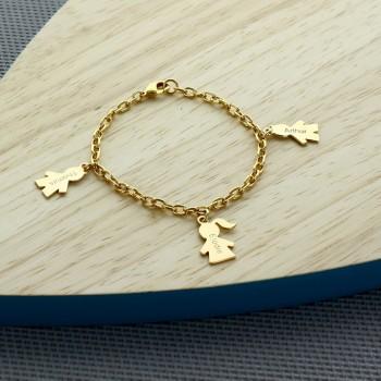 Bracelet personnalisé Garçon/Fille plaqué or