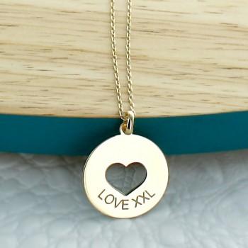 """Collier gravé """"mon petit coeur"""" argent lettre script"""