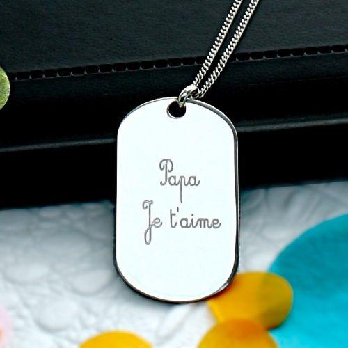 """Plaque gravée """"Papa Je t'aime"""" en Argent"""