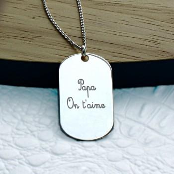 """Plaque gravée """"Papa On t'aime"""" en Argent"""