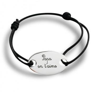 """Bracelet plaque homme """"Papa on t'aime"""" en argent"""