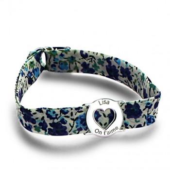 Bracelet Liberty médaille coeur liberty myosotis