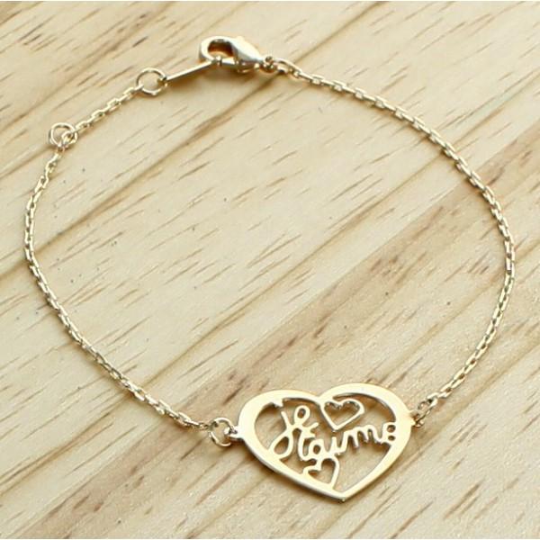 """Bracelet """"Je t'aime dans un coeur"""""""