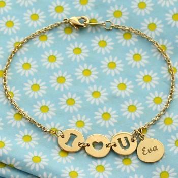 """Bracelet """"I Love U"""" personnalisé"""
