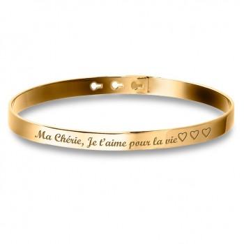 Bracelet Jonc Plaqué Or à personnaliser lettre manuscrite