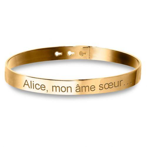 Grand Bracelet Jonc Plaqué Or lettre droite