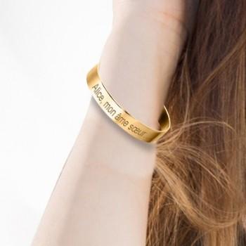 Grand Bracelet Jonc Plaqué Or à personnaliser