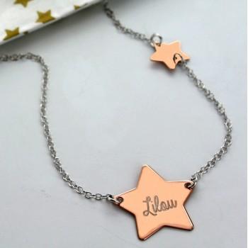 Le collier double étoile Argent rosé