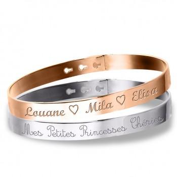 Duo Grands Bracelets Jonc Argent 925 et Argent Rosé à personnaliser gravure Joaillier
