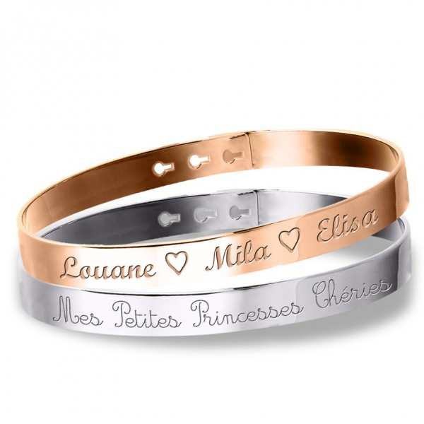 duo grands bracelets jonc graver argent 925 et argent ros. Black Bedroom Furniture Sets. Home Design Ideas