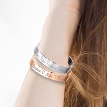 Duo Grands Bracelets Jonc à graver Argent 925 et Argent Rosé