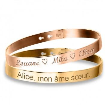 Duo Grands Bracelets Jonc Argent Rosé et Argent Doré à personnaliser
