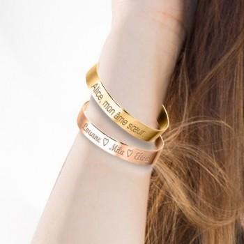 Duo Grands Bracelets Jonc Argent Rosé et Plaqué Or à personnaliser