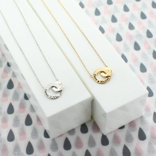 """Collier double anneaux """"enlace-moi"""""""