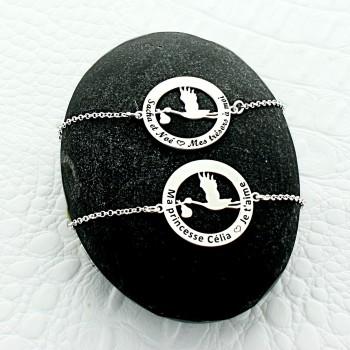 Bracelet Cigogne personnalisé argent