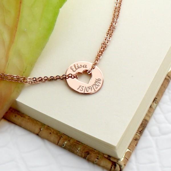 Bracelet gravé forme coeur en argent rosé et lettre script