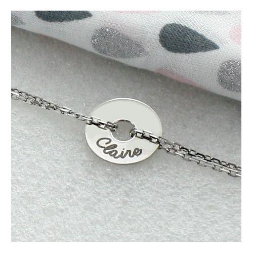 Bracelet gravé forme jeton rond