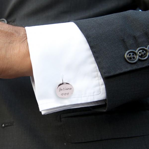 Boutons de Manchette forme Ovale lettre droite