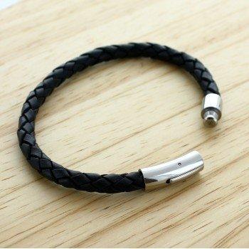 Bracelet Cuir Tressé Noir Gravure sur Fermoir