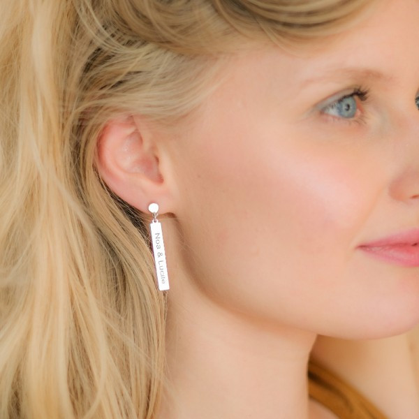 Boucles d'oreilles rectangles à graver
