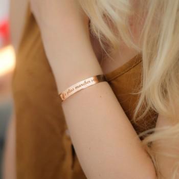 Grand Bracelet Jonc Argent Rosé à personnaliser