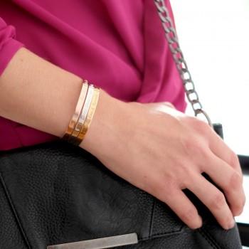 Duo Bracelets Jonc Argent Rosé et Plaqué Or à personnaliser gravure Joaillier