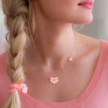 Collier double coeur Argent rosé