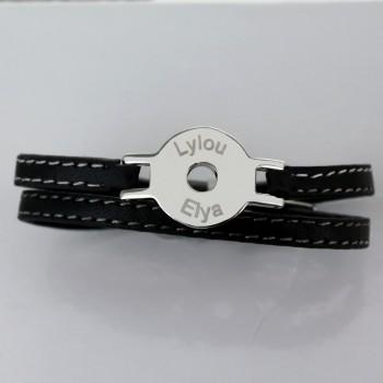 Bracelet Jeton gravé en Acier et Cuir
