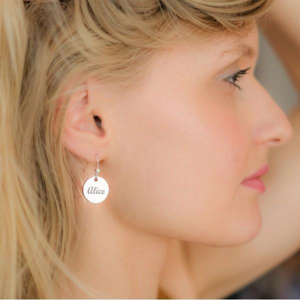 Boucles d'oreilles rondes à graver lettre anglaise