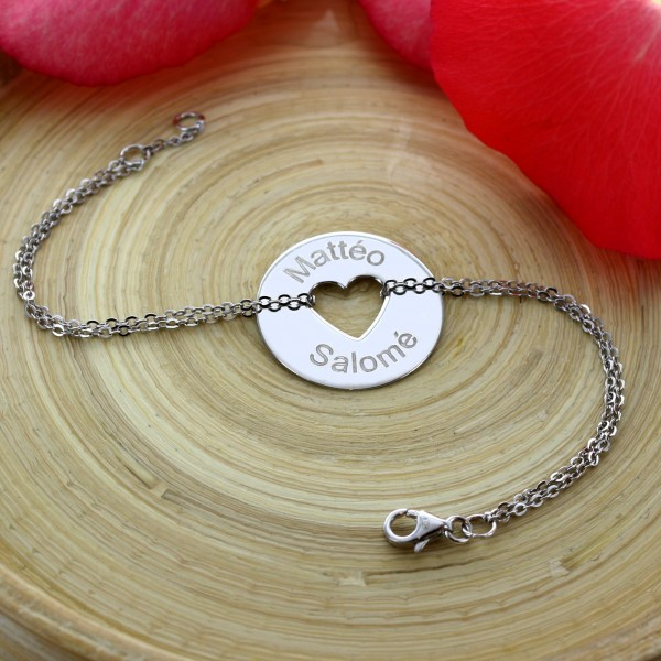 Grand Bracelet gravé forme coeur