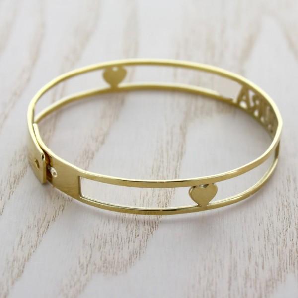 Le bracelet jonc avec prénom découpé Argent Doré