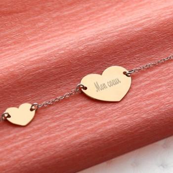 Bracelet double coeur en Argent rosé