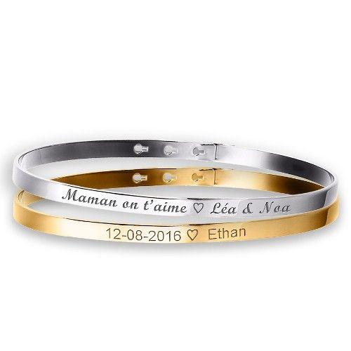 Duo de petits bracelets joncs à graver argent et plaqué or