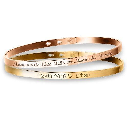Duo de petits bracelets joncs à graver argent rosé et plaqué or