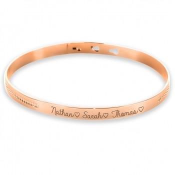 Bracelet Jonc Argent Rosé avec décor perlé
