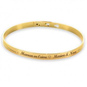Bracelet Jonc perlé Plaqué Or avec décor lettre script