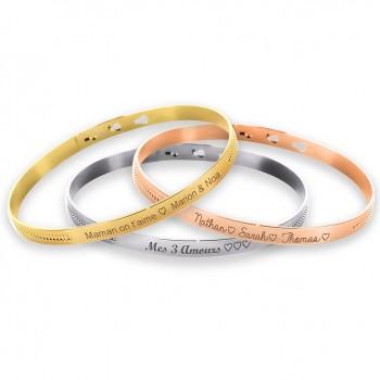 Duo de bracelets joncs perlés Argent Rosé et Plaqué Or