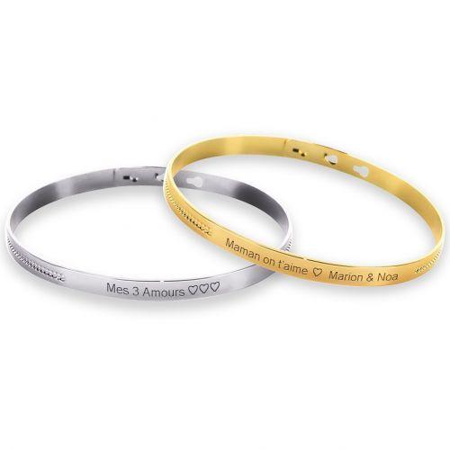 Duo de bracelets jonc perlé Argent et Plaqué Or gravure joaillier