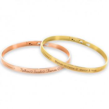 Duo de bracelets jonc perlé Argent Rosé et Plaqué Or gravure joaillier