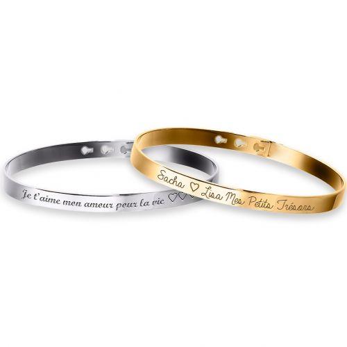 Duo Bracelets Jonc Argent 925 et Plaqué Or à personnaliser gravure Joaillier
