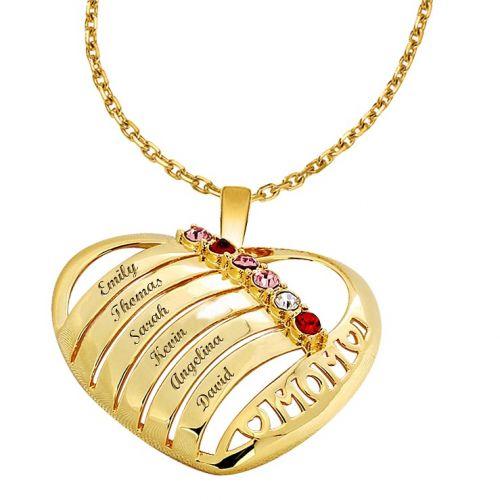 Collier coeur à personnaliser avec 6 pierres de naissance en argent doré