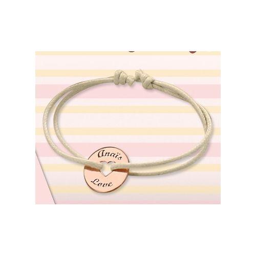 """Bracelet cordon """"mon petit coeur"""" en argent rosé"""