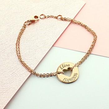 Bracelet gravé forme coeur en argent rosé lettre script
