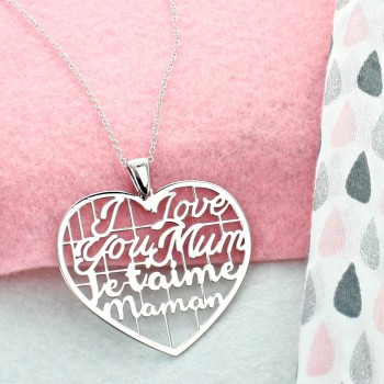 "Collier coeur ""Je t'aime maman"""