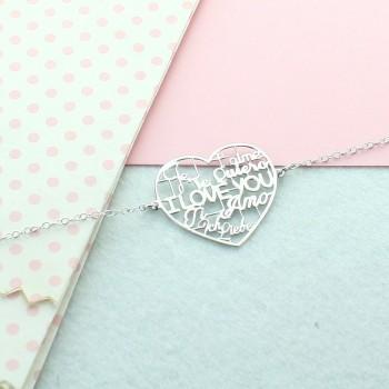 """Bracelet coeur """"Je t'aime"""" dans toutes les langues"""