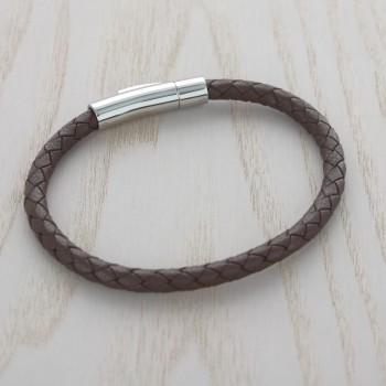 Bracelet Cuir Tressé Marron Gravure sur Fermoir