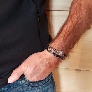 Bracelet Ovale gravé en Acier et Cuir