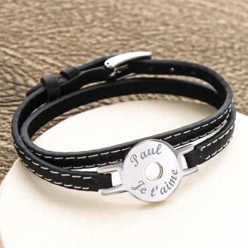 Bracelet Jeton gravé double tour en Acier et Cuir